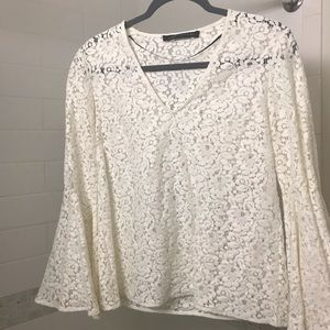 Zara white lace bell sleeve top
